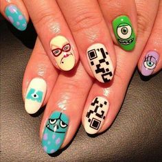 disney nail art | Disney Monsters Inc Nail Art | Nails