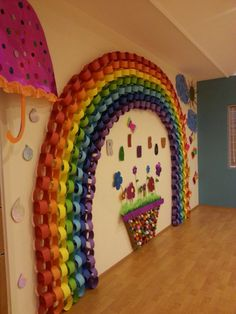 preschool kindergarten rainbow sunny sun paper rain flower anaokulu