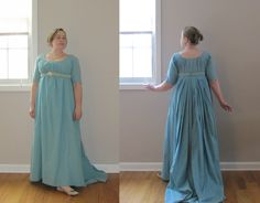 Blue lawn gown, circa 1800-1805; refashioned in 2013 from 1796 gown made in 2012.