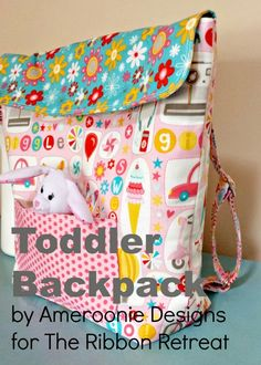 Sewing Crafts For Children FREE Toddler backpack tutorial from Ameroonie Designs! Sewing Basics, Sewing Hacks, Sewing Tutorials, Sewing Crafts, Sewing Projects, Bag Tutorials, Backpack Tutorial, Backpack Pattern, Sewing For Kids