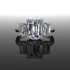 Forever Brilliant Moissanite Emerald Cut Three Stone Engagement Ring 3.66 CTW