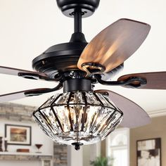 Makore Matte Black Lighted Ceiling Fan with Crystal Shade (includes Remote and Light Kit), Warehouse of Tiffany Ceiling Fan Chandelier, Ceiling Lights, Ceiling Fans, Living Room Ceiling Fan, Antler Chandelier, Silver Chandelier, Ceiling Tiles, Black Ceiling Fan, Ceiling Fan Makeover