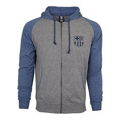 Fc-Barcelona-Hoodie-Fz-Summer-Light-Zip-up-Jacket-Grey-blue-Adults-M-0