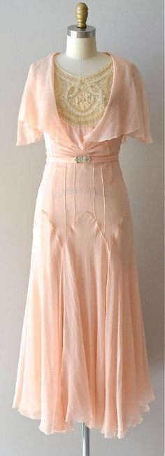 Late 1920s-30s silk chiffon dress