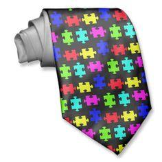 Autism puzzle neck tie