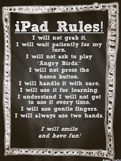 Ipad Rules  - Pinned by @PediaStaff – Please Visit  ht.ly/63sNt for all our pediatric therapy pins