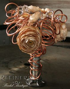 Vintage Style Bridal Bouquet: Copper Flower and by RefineriiBridal