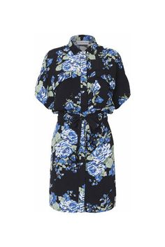 Spring St. Crepe Dress, Blue Flower