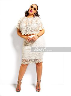09b2cef6e2e6 Monif C Plus Size Lace Crop Top and Skirt outfit Perfect for a Wedding  Rehearsal