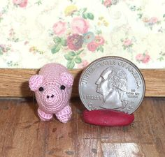 Pink Pig Micro Thread Artist Crochet  Ready to Ship by Linsthings, $10.00