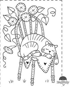 "FREE Red Brolly Cat Stitchery pattern: Catalicious B. ""Brutus in Spring"" Block Vintage Embroidery, Embroidery Applique, Cross Stitch Embroidery, Machine Embroidery, Embroidery Designs, Primitive Embroidery Patterns, Cross Stitches, Broderie Primitive, Primitive Stitchery"