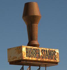 Rubber stamps. St. Joseph, Missouri. - I'd say that the sign definitely reflects the product!