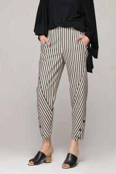 Peg trousers in monochrome stripes