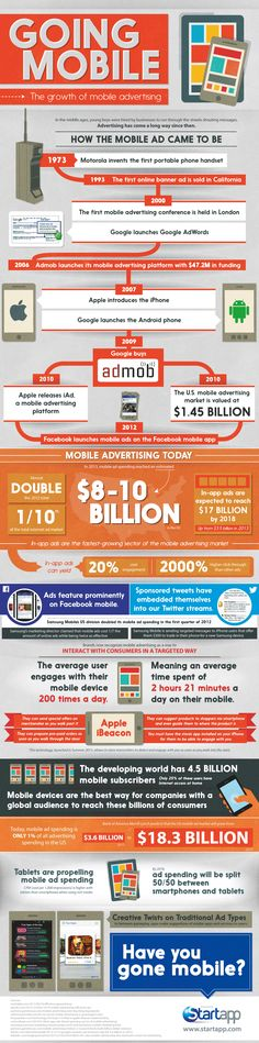The Phenomenal Growth of Mobile Advertising [Infographic] image startapp mobile Mobile Advertising, Mobile Marketing, Marketing And Advertising, Business Marketing, Internet Marketing, Online Marketing, Social Media Marketing, Digital Marketing, Inbound Marketing