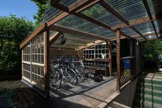 Ruth's Garden Cottages cohousing community by Communitecture and Orange Spot LLC Bicycle Storage Sunshed Bicycle Storage Shed, Outdoor Bike Storage, Bike Shed, Backyard Storage, Bike Storage Solutions, Storage Ideas, Diy Storage, Bike Shelter, Shed Plans