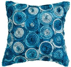 Avarada Triple Colour Floral Bouquet Throw Pillow Cover Decorative Sofa Couch Cushion Cover Zippered 20x20 Inch (50x50 cm) Blue Jeans