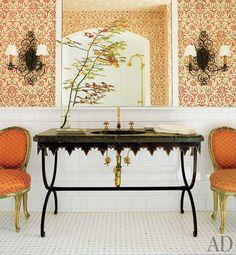 antique patio table into bathroom vanity.