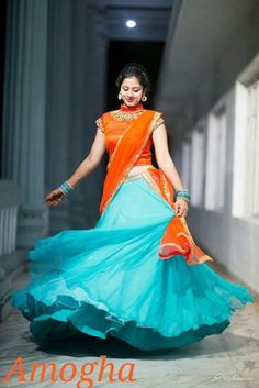 Half Saree Designs, Sari Blouse Designs, Lehenga Designs, Half Saree Lehenga, Bollywood Lehenga, Lehnga Dress, Lehenga Blouse, Anarkali, Dress Skirt