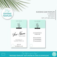 Floral Minimal DIY Business Card Template 2 Sizes Editable | Etsy Minimal Business Card, Elegant Business Cards, Business Card Design, Beauty Shop, Diy Beauty, Printable Business Cards, Custom Fonts, Tag Design, Personal Branding
