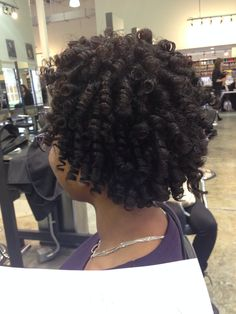 Rod set on natural hair. To learn how to grow your hair longer click here - http://blackhair.cc/1jSY2ux