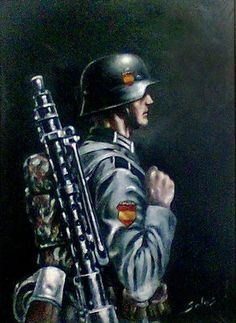 """German """"Division Azul in Russia"""" Military Guns, Military Photos, Military Art, Military History, German Soldiers Ww2, German Army, Military Motivation, Germany Ww2, Military Insignia"""