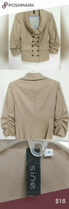 """Anthropologie SINE Brief Meeting Blazer Top Sz 4 Get work ready in an instant with this tailored-look jacket. Classic color in a wool blend. Ruched sleeves and double buttons add interest. Dry clean only, but a lingerie bag would likely do. Amazing condition. Appears never worn. Women's size 4. Measurements (flat across): 16.5 chest, 23"""" length, 18"""" sleeves, 17"""" shoulder. Reasonable offers appreciated! Anthropologie Jackets & Coats Blazers"""