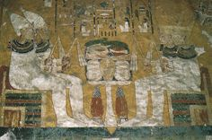 The four sons of Horus, tomb of Ay, western Valley of the Kings, Thebes.  This unique representation depicts the sons of the God Horus (son of Great Goddess Isis) as seated mummiform figures wearing the White Crown of Upper Egypt (at left, on the southern side) and the Red Crown of Lower Egypt (at right, on the northern side). 18th Dynasty.