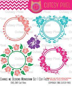 Hibiscus Monogram Flower Svg Svgcutting File Hawaii Svg