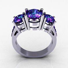 Contemporary 14K White Gold Three Stone 2.25 Carat Total Round Alexandrite Bridal Ring R94-14WGAL