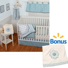 Sumersault Little Prince 6pc Crib Bedding Set w/BONUS Baby Blanket