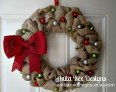 Christmas Burlap Wreath by AnitaRexDesigns on Etsy