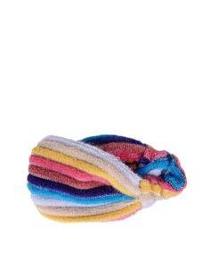 Multi-colored, striped fur headband.