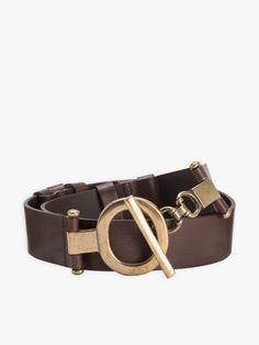 ceinture allienor marron foncé en cuir   agnès b. Dark Brown Leather, High Fashion, Belt, My Style, Accessories, Top Luxury Brands, Conkers, Woman, Belts