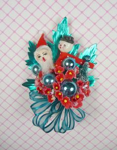 Christmas Corsage Vintage Santa Claus Snowman by meaicp on Etsy, $22.00 I remember Christmas corsages!