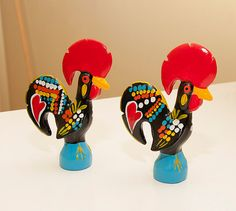 set of 2 - Portuguese Traditional Rooster - handmade and paint