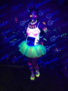 Glow in the dark blacklight run outfit