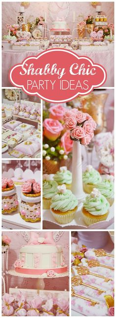 How pretty is this pink and gold shabby chic party?! See more party ideas at CatchMyParty.com!