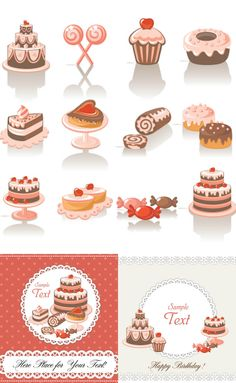 Sets Of Vector Decorative Sweets Design Elements And Two Card  cakepins.com