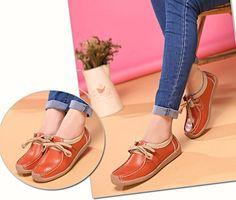 Lace Up Soft Leather Flat Shoes Breathable Walking Slip-ons #womenfashion #womenshoes #slipons #leathershoes