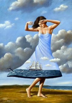 Dancing to the End of Love I by   Rafal Olbinski   2010  Acrylic and Oil on Canvas  19.75 x 13.75 inches  Patinae