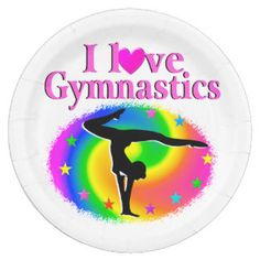 CUTE AND COLORFUL I LOVE GYMNASTICS DESIGN PAPER PLATE Our best selling Gymnastics gifts are perfect for birthdays, holidays any occasion. http://www.zazzle.com/mysportsstar/gifts?cg=196751399353624165&rf=238246180177746410   #Gymnastics #Gymnast #WomensGymnastics #Gymnastgift #Lovegymnastics #PersonalizedGymnast