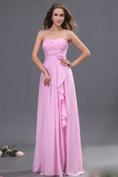 2013 Bridesmaid Dresses Pink Sheath/Column Strapless Floor Length Chiffon -  For more amazing deals visit us at http://www.brides-book.com/#!brides-book-outlets/ck9l and remember to join the VIB Ciub