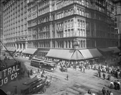 Marshall Field & Company Store (circa 1904-1913) downtown at the corner of State St. and Washington Ave.  Note the great clock on the corner.
