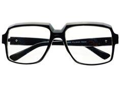 Retro Square Clear Lens Aviator Glasses Black A681