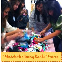 """""""Matching Baby Socks"""" Baby Shower Game = Race to see who can match the most pairs of different colored / patterned baby socks. The winner gets a prize, and the Parents-to-Be get socks to take home for the Baby ... win-win =)"""