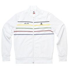 #LeCoqSportif Tennis Rainbow Tracksuit - Arthur Ashe - White  On #sale: 80,00 €
