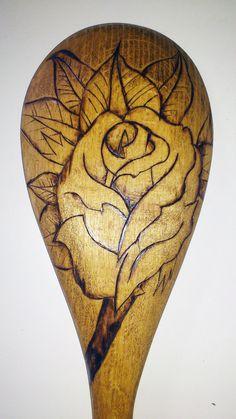 Woodburned Spoon by jenellehoeppner on Etsy