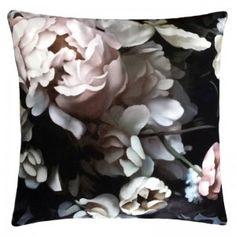 Dark Floral II Black Saturated on Velvet Cushion x 80 cm) - by Ellie Cashman Design E Textiles, Textile Prints, Floral Cushions, Velvet Cushions, Handmade Cushions, Furniture Decor, Still Life, Print Patterns, Floral Design