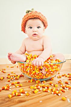 Baby photography candy corn Halloween photo shoot idea