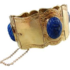 RESERVED Etruscan revival solid gold cuff bracelet with etched lapis lazuli cabochon, Italian solid gold, hallmarked, Circa